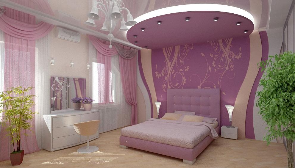 صور غرف نوم باللون الموف والبيج