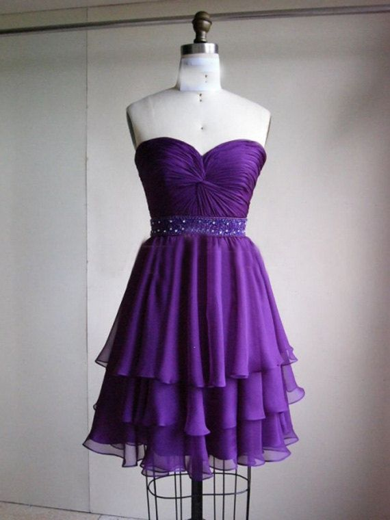 3 layer purple prom dress short prom dress praty dress 2017