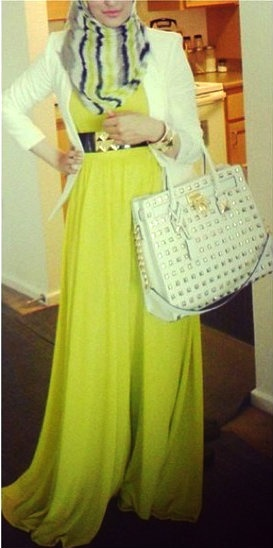 Yellow Maxi Dress  Chic Cardigan. <p></a> </p>#Hijab ❤ hijab style