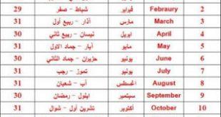 صور جدول اسماء الشهر بالانجليزي والعربي