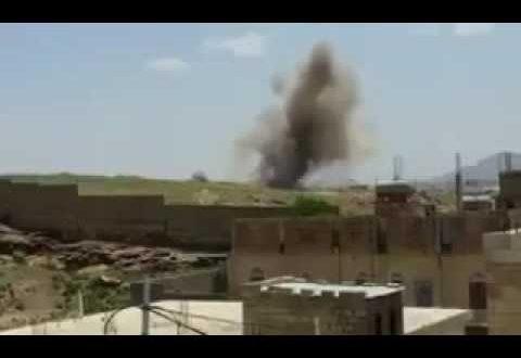 صوره حوثيين يصورون لحظة اطلاق صاروخ سكود لكن فاجئهم الطيران السعودي