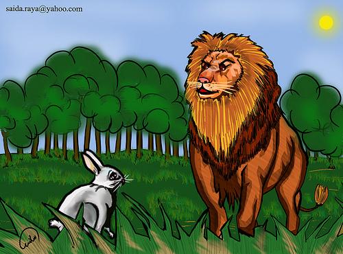 صور قصة الارنب والاسد
