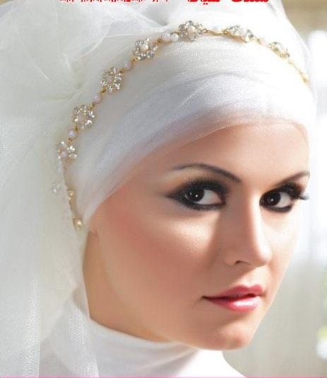 صورة احدث لفات طرح زفاف 2019 , لكل عروسة تحب الابداع في الزواج والتميز