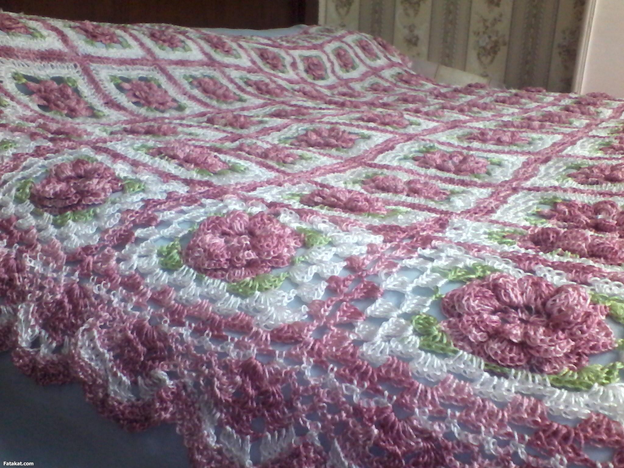 صور غطاء سرير كروشي