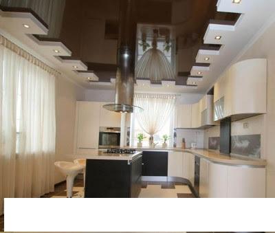 contemporary-gypsum-ceiling-for-kitchen-brown ديكورات اسقف جبس ديكورات اسقف جبس اجمل 10 افكار لتبتكر سقفا مميزا لمنزلك contemporary gypsum ceiling for kitchen brown