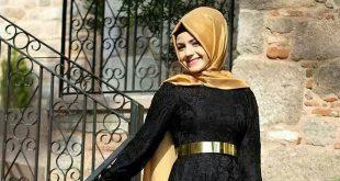 صور لفة طرح سوارية للفستان اسود