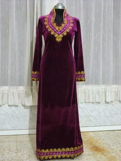 صور فساتين جزائرية شتوية للبيت , لباس بنات الجزائر للشتاء